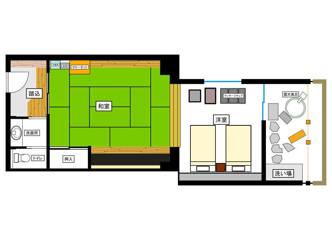 温泉露天風呂付ベッド付き和洋室平面図