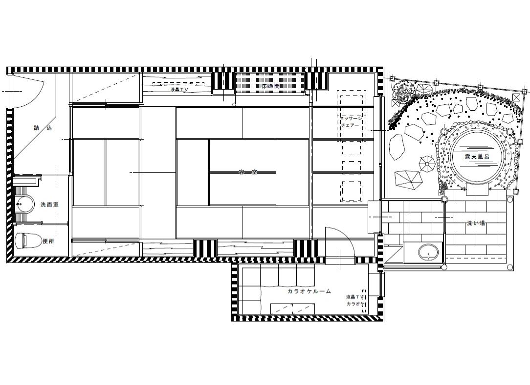 おとぎ亭カラオケルーム付露天風呂付客室平面図